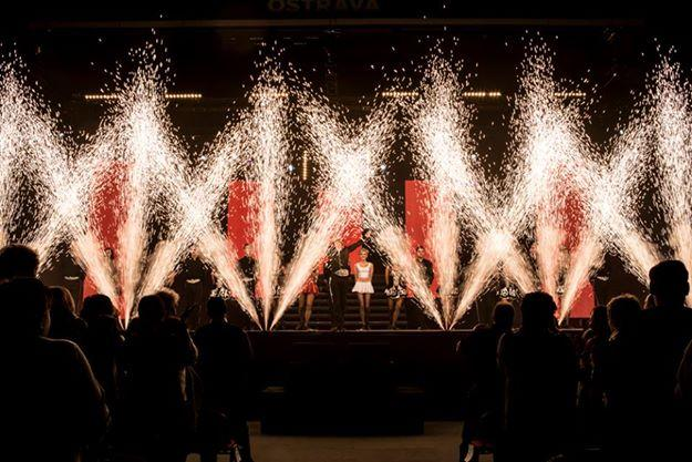 Pyrotechnics fill the stage in front of an Irish dance group during Lord of the Dance