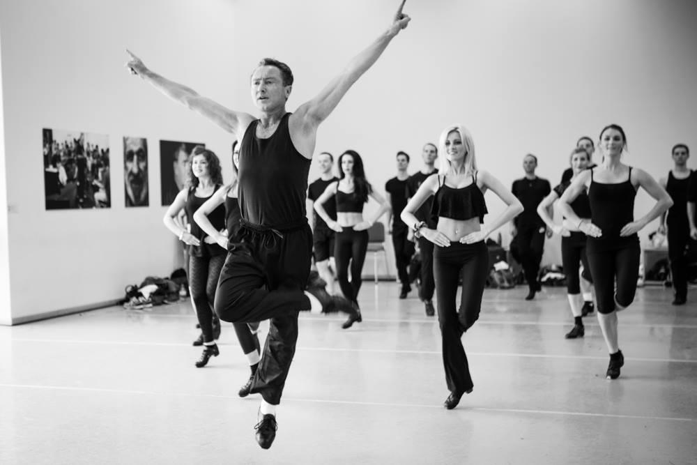 Michael Flatley leads a rehearsal of Irish dance group Lord of the Dance
